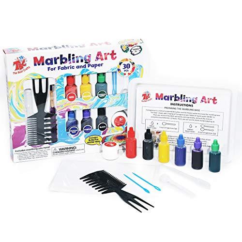 TBC The Best Crafts - Kit de pintura de mármol, 6 botellas (19 ml cada una), arte de pintura sobre agua, arte de Ebru Art, juguetes creativos y regalos, juego de pintura para manualidades