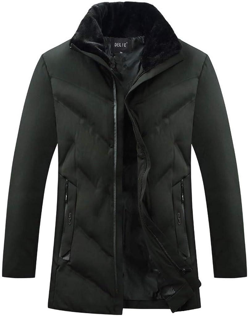 Down Jacket Men, NRUTUP Faux Fur Collar Water-Resistant Puffer Jacket, Smart Down Alternative Winter Coat Overcoat