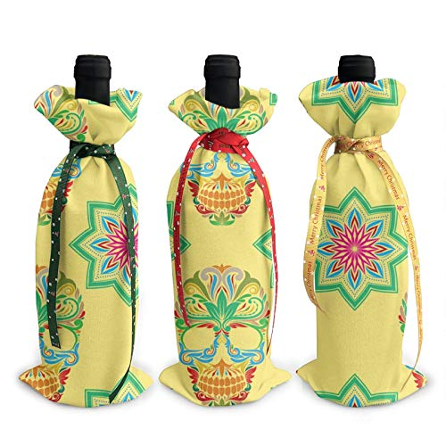 3pcs Christmas Wine Bottle Cover 3d Skull And Lotus Pattern Wines Bottles Decoration Bags For Xmas New Year Party Birthday Dinner