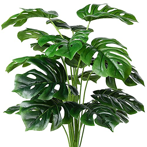 Artificial Palm Plants Leaves Faux Turtle Leaf Fake Monstera Tropical Large Palm...