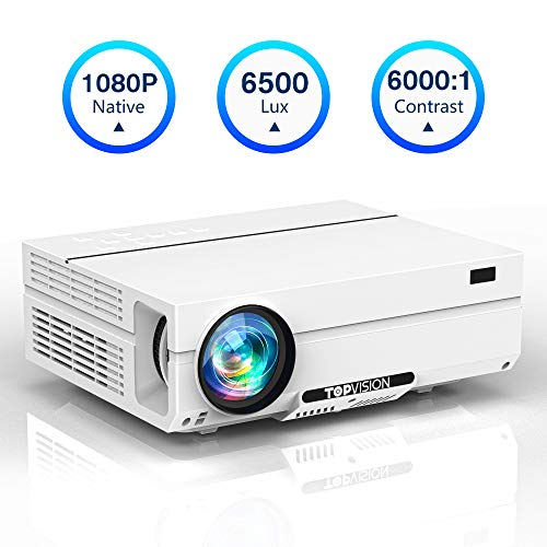 Projector Native 1080P TOPVISION Video Projector with Carrying Case 6500L Full HD Movie Projector LCD LED Home amp Outdoor Projector Compatible with TV StickHDMIVGAUSB SmartphonePCXbox