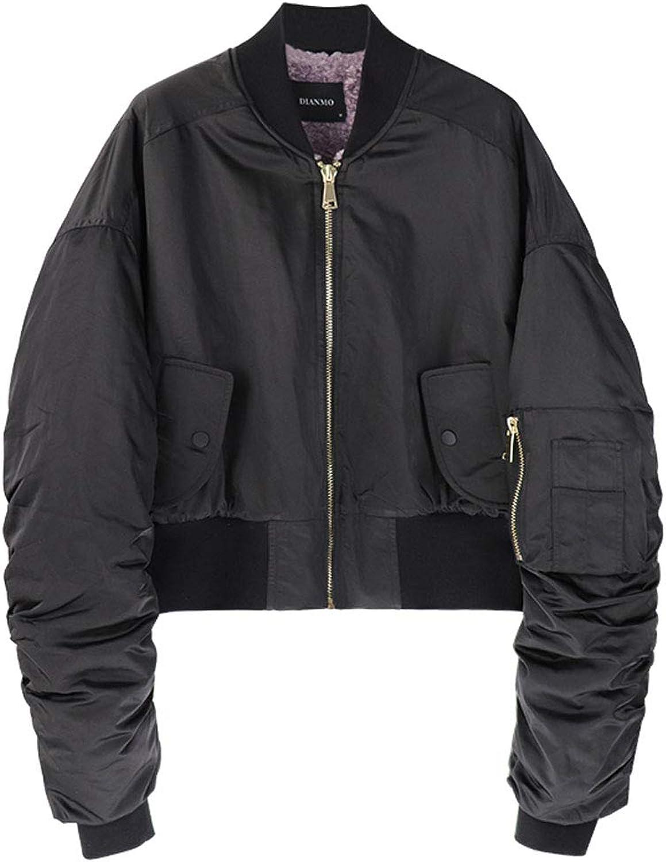 Baseball Clothing Women Short Coat Winter Thick Lamb Hair Coat Pilot Jacket Cotton Clothing Fashion Wild Jacket (color   Black, Size   L)