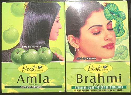 Hesh brahmi (1 Paquet, 100 Grams) et Amla (1 Paquet, 100 Grams) poudre ayurvedique pour soin,renforcer les cheveux et réduit la chut des cheveux