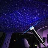 Star Projector Night Light, Booreina Adjustable Sound Activated USB Night Light, Violet Blue Interior Car Lights, Romantic Auto Roof Ceiling Lamp for Bedroom, Car, Ceiling and Party Decoration