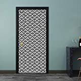 Wall Stickers Moorish Star Pattern with Intertwined Lines Oriental Motif Ancient Arab Elements Welcome Front Door Sticker Used on Wall at Work Black White 38.6 x 78.7 Inch