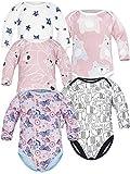 Sibinulo Jungen Mädchen Body Langarm 5er Pack Rosa Bären Rosa Wiese Rosa Bären auf den Blättern Schwarze Elefanten Sterne 86(12-18 Monate)