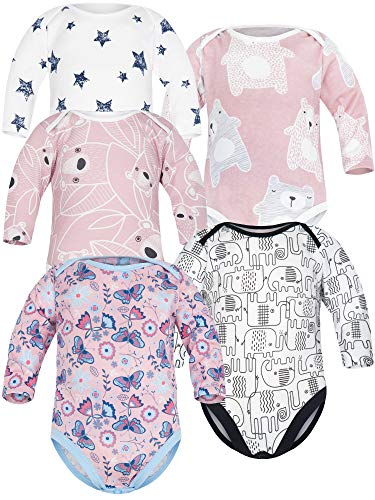 Sibinulo Jungen Mädchen Body Langarm 5er Pack Rosa Bären Rosa Wiese Rosa Bären auf den Blättern Schwarze Elefanten Sterne 62(0-3 Monate)