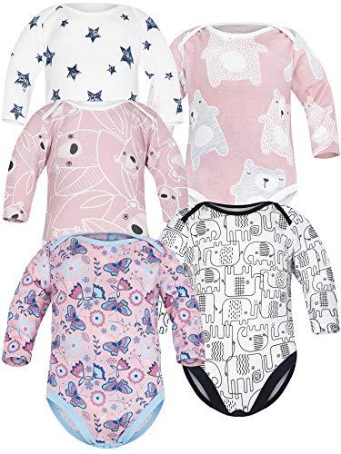 Sibinulo Niño Niña Body Bebé Manga Larga Pack de 5 Koala Rosa Prado Rosa Osos Rosados Elefantes...
