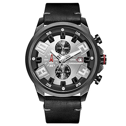 WNGJ Hombre Relojes, Cronógrafo De Calendario Perpetuo Multifunción De Seis Agujas Impermeable Reloj Hombre, Impermeable para Hombre Cuarzo Relojes, Pa Black