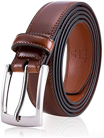 Men Brown Leather Belt Fashion Classic Design for Dress and Causal Size 38 Waist 36 Burnt Umber product image
