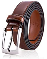 Men Brown Leather Belt, Fashion & Classic Design for Dress and Causal (Size 38 (Waist 36), Burnt Umber)