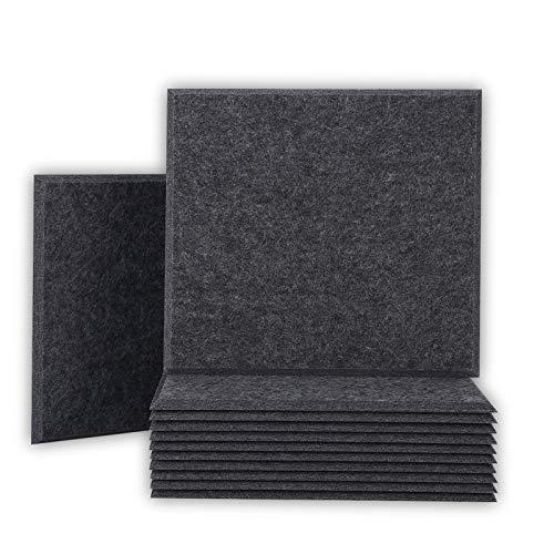 BUBOS 12 pack paneles acusticos, insonorizacion acustica pared, paneles acusticos insonorizacion buenos para insonorización y tratamiento acústico,ignífugos, 30 x 30 x 0.9cm,Sésamo negro