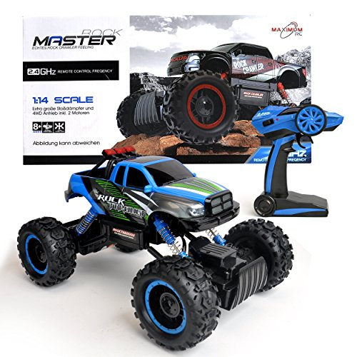 RC Auto kaufen Monstertruck Bild: Maximum RC Ferngesteuertes Auto für Kinder - 4WD Monstertruck - XL RC Auto für Kinder ab 8 Jahren - Rock Crawler (blau)*