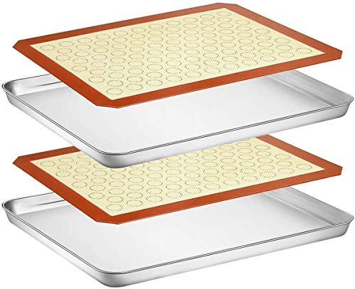 Wildone Baking Sheet with Silicone Mat Set, Set of 4 (2 Sheets + 2 Mats), Wildone Stainless Steel Cookie Sheet Baking Pan with Silicone Mat, Size 18 x 13 x 1 Inch, Non Toxic & Heavy Duty & Easy Clean