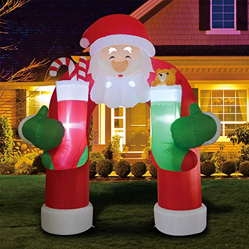 Phoenixreal 11 Foot Christmas Inflatables Santa Archway, Airblown Inflatable Archway with Gift Socks, Lighted for Home Outdoor Yard Lawn Decoration