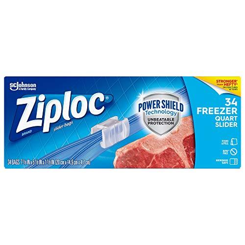 Ziploc Brand Slider Freezer Quart Bags with Power Shield Technology, 34 Count