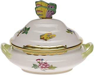 Herend Queen Victoria Porcelain Mini Tureen With Butterfly