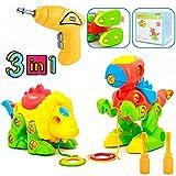 Dinosaurios Juguetes Piezas construccion niños con Taladro Eléctrico Puzzles Infantiles Incluyen...