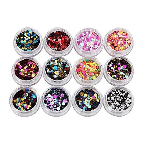 Coolster Acryl 3D Glitter Sequins Aufkleber Nail Decorator Nail Art Tip DIY Dekoration Set (Multicolor 1)