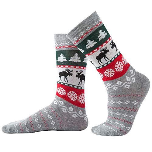 Rehomy Weihnachtssocken, Unisex, gekämmte Baumwolle, Socken für Erwachsene und Kinder, 1 Paar Gr. Medium, Für Erwachsene