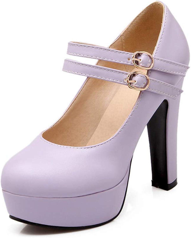 Eleganceoo Women Fashion Mary Jane Block Heel Pumps Closed Toe Bridal Wedding shoes