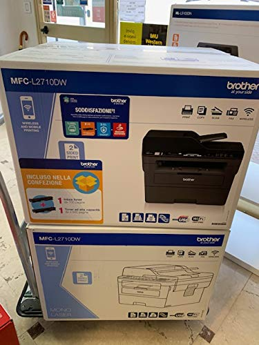 Brother MFCL2710DW Stampante Multifunzione Laser Monocromatica 4 in 1, Bundle All in Box con Toner Originali Inclusi per 5.200 Pagine, 30 ppm, Rete Cablata, Stampa Fronte-Retro, Wi-Fi