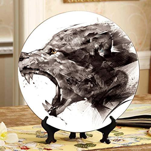 Platos de decoración de animales con retrato de lobo gris, plato de cerámica personalizado, plato oscilante para el hogar con soporte de exhibición, decoración, platos decorativos para el hogar