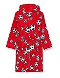 Playshoes Jungen Kuschelweicher Fleece Morgenmantel Fußball Bademantel, Rot (Rot 8), 122/128
