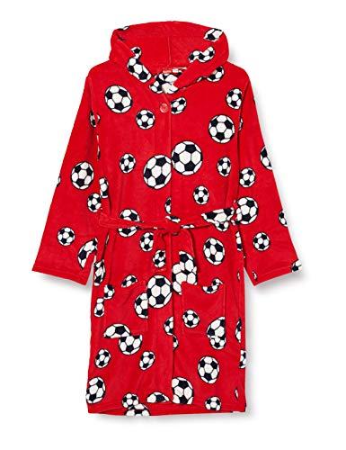 Playshoes Jungen Kuschelweicher Fleece Morgenmantel Fußball Bademantel, Rot (Rot 8), 110/116