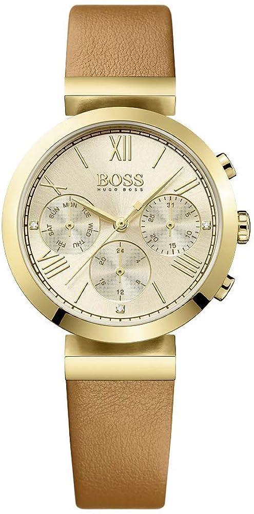 Hugo boss orologio da donna in acciaio inox con cinturino in pelle 1502396