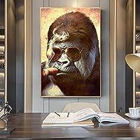 キャンバス絵画抽象喫煙ゴリラポスタープリントストリートアート動物の壁アート写真リビングルームの家の装飾70x100cmフレームレス
