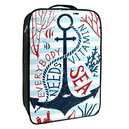Caja de almacenamiento para zapatos de viaje y uso diario para todo el mundo necesita vitaminas del mar, organizador portátil impermeable hasta 12 yardas con doble cremallera y 4 bolsillos