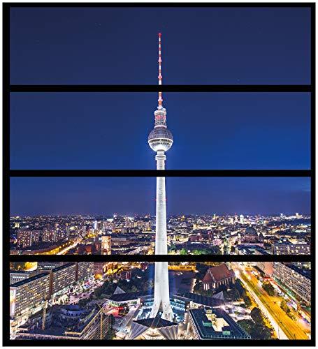 Wallario Möbelfolie/Aufkleber, geeignet für IKEA Malm Kommode - Fernsehturm Berlin bei Nacht mit 4 Schubfächern