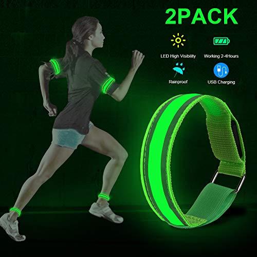 Parsion 2 STK LED Armband Aufladbar, Leuchtarmband USB Reflektorband Reflective Band Led Armbänder Leuchtband Kinder Reflektorbänder für Joggen Laufen Sport (Grün)