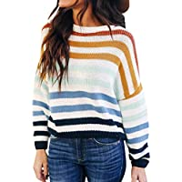 Zesica Women's Long Sleeve Crew Neck Striped Knitted Pullover Sweater