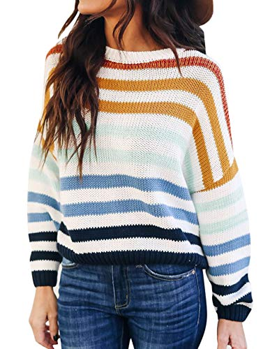 ZESICA Women's Long Sleeve Crew Neck Striped Color Block Casual Loose Knitted Pullover Sweater Tops Navy
