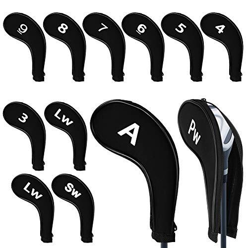 Maxjaa Golf Iron Head Cover Protector de Cabezas de Club Cuña Headcovers Cuello Largo con Cremallera, Cuña de Cuello Largo...