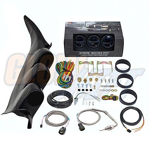 GlowShift Diesel Gauge Package for 2000-2006 Chevrolet Chevy Silverado Duramax 2500 3500 - Tinted 7 Color 60 PSI Boost, 1500 Pyrometer EGT & Transmission Temp Gauges - Black Triple Pillar Pod