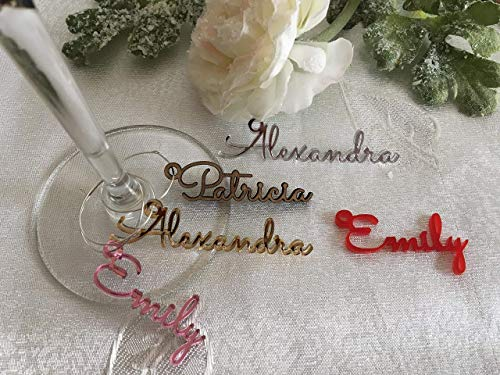 Personalized Wine Glass Charms Laser Cut Names Place Cards Custom Signs Name Gift Tags Wedding Favors Sign Place Cards Wooden Place Setting Small Laser Cut Table Names with Hole Baby shower Decor
