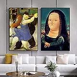 YHJK Cartel de Arte Moderno Divertido Mona Lisa Carteles de Arte de Pared e Impresiones de Fernando Botero Pinturas de Arte Famosas para decoración del hogar 2x60x80cm sin Marco