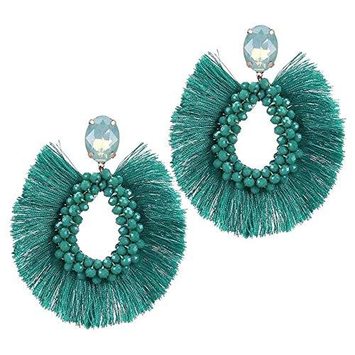 DJMJHG Pendientes con borlas, Pendientes Bohemios Hechos a Mano para Mujer, Pendientes Colgantes de Cristal para Mujer, joyería de Moda,Azul Pavo
