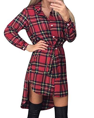Style Dome Karierte Bluse Damen Langarm Button Down Tallliert Longbluse Casual Tunika Blusenkleid Rot XL
