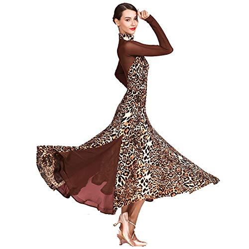 Fhxr Falda de baile moderna de manga larga con estampado de leopardo mocha y estampado de seda de hielo, vestido de baile marrn leopardo, tamao: M