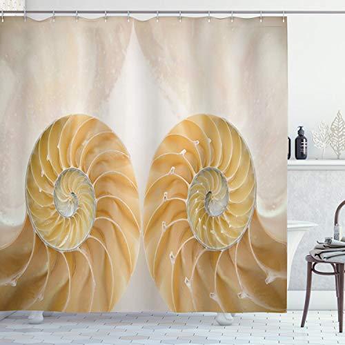 ABAKUHAUS Geometrisch Duschvorhang, Symmetrische Muscheln, mit 12 Ringe Set Wasserdicht Stielvoll Modern Farbfest & Schimmel Resistent, 175x200 cm, Weiß Creme
