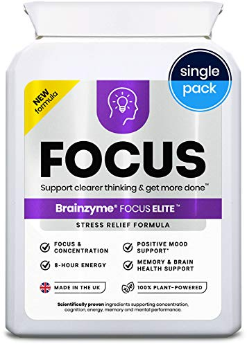 Brainzyme Focus Elite: Stress-Relief, Positive Mood, Memory & Energy. 3-in-1 Brain Supplement + Probiotic + Multivitamin: 9794mg 30 Actives inc. Panax Ginseng, Ginkgo Biloba, Guarana (Single Pack)