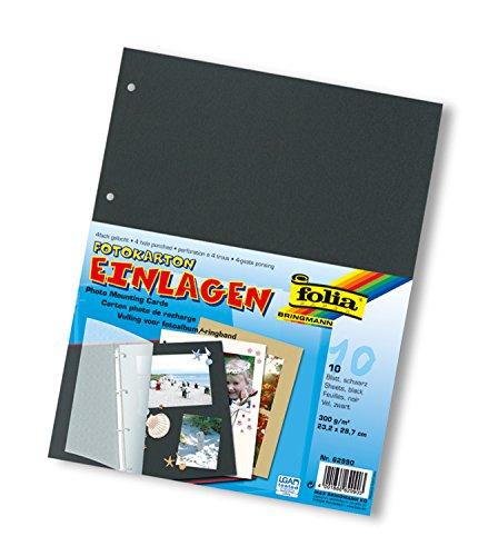 folia 62990 - Fotokartoneinlagen, 10 Blatt, 4 fach gelocht, A4, schwarz