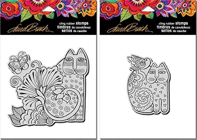 Stampendous Laurel Burch Cling Stamps - Blossoming Feline and Feline Friend- 2 Item Bundle
