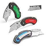 WORKPRO Folding Utility Knife Set Quick Change Blade, Back-Lock Mechanism 3-Piece with 10-Piece Extra Blades