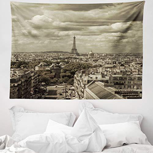 ABAKUHAUS Paris Wandteppich & Tagesdecke, City Skyline of Paris, aus Weiches Mikrofaser Stoff Wand Dekoration Für Schlafzimmer, 150 x 110 cm, Beige