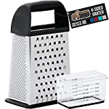 Gorilla Grip Box Grater, Stainless Steel, 4-Sided Graters with Comfortable Handle and Storage Container for Cheese, Vegetables, Ginger, Handheld Food Shredder, Kitchen Zester, 10 inch, 10inch, Black